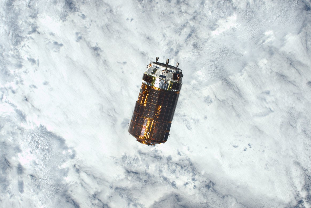 JAXA's resupply cargo ship for the International Space Station is seen in this photograph.