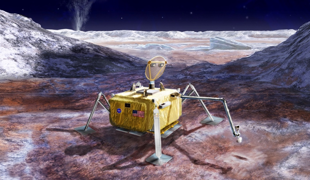 An artist's impression of a lander on the surface of Europa.