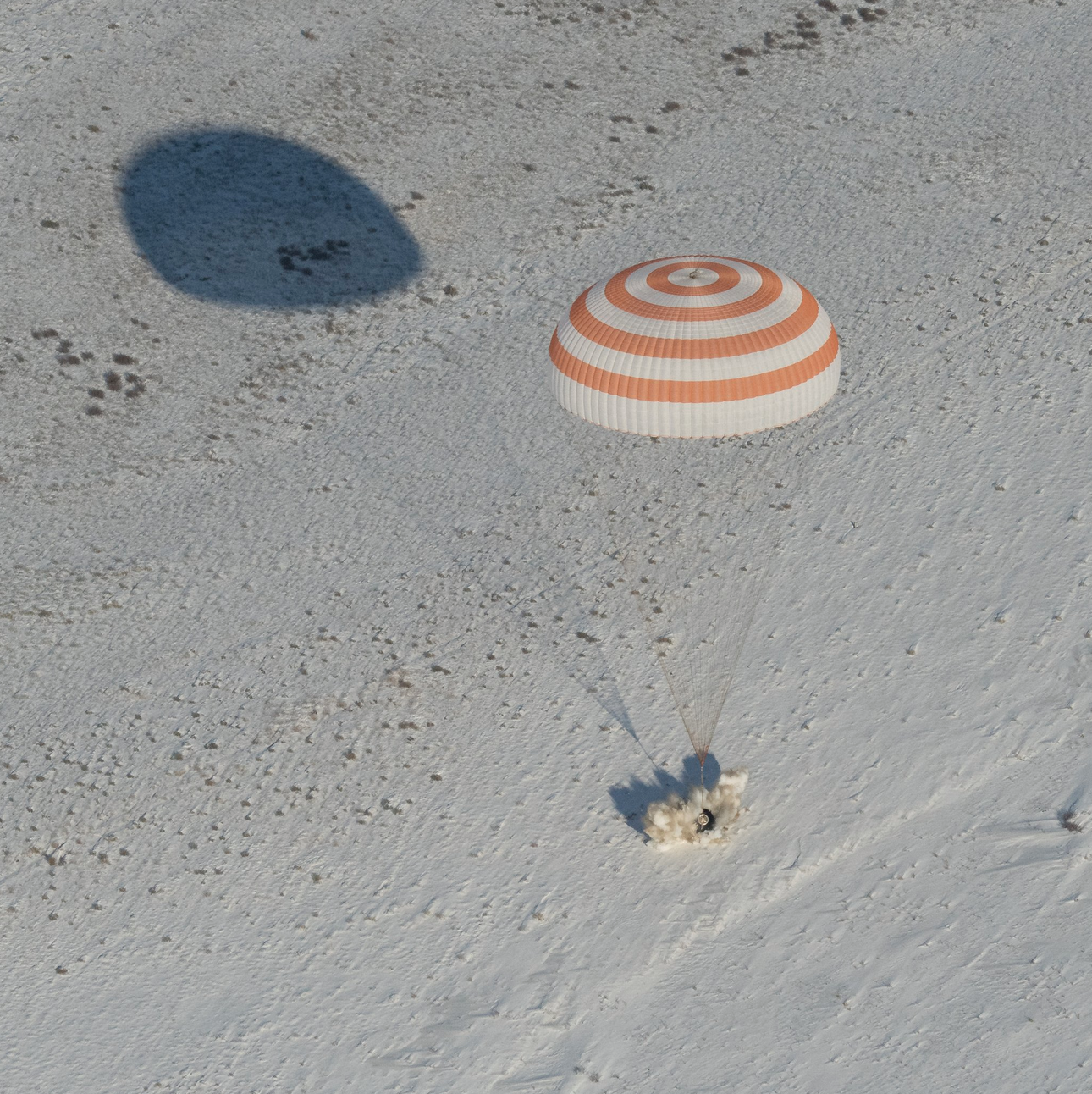 The Soyuz spacecraft touches down in Kazakhstan with three ISS crew members on Thursday.