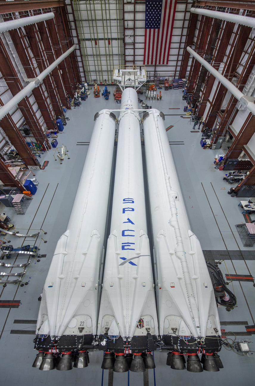SpaceX's Falcon Heavy rocket sits in Cape Canaveral, Florida.