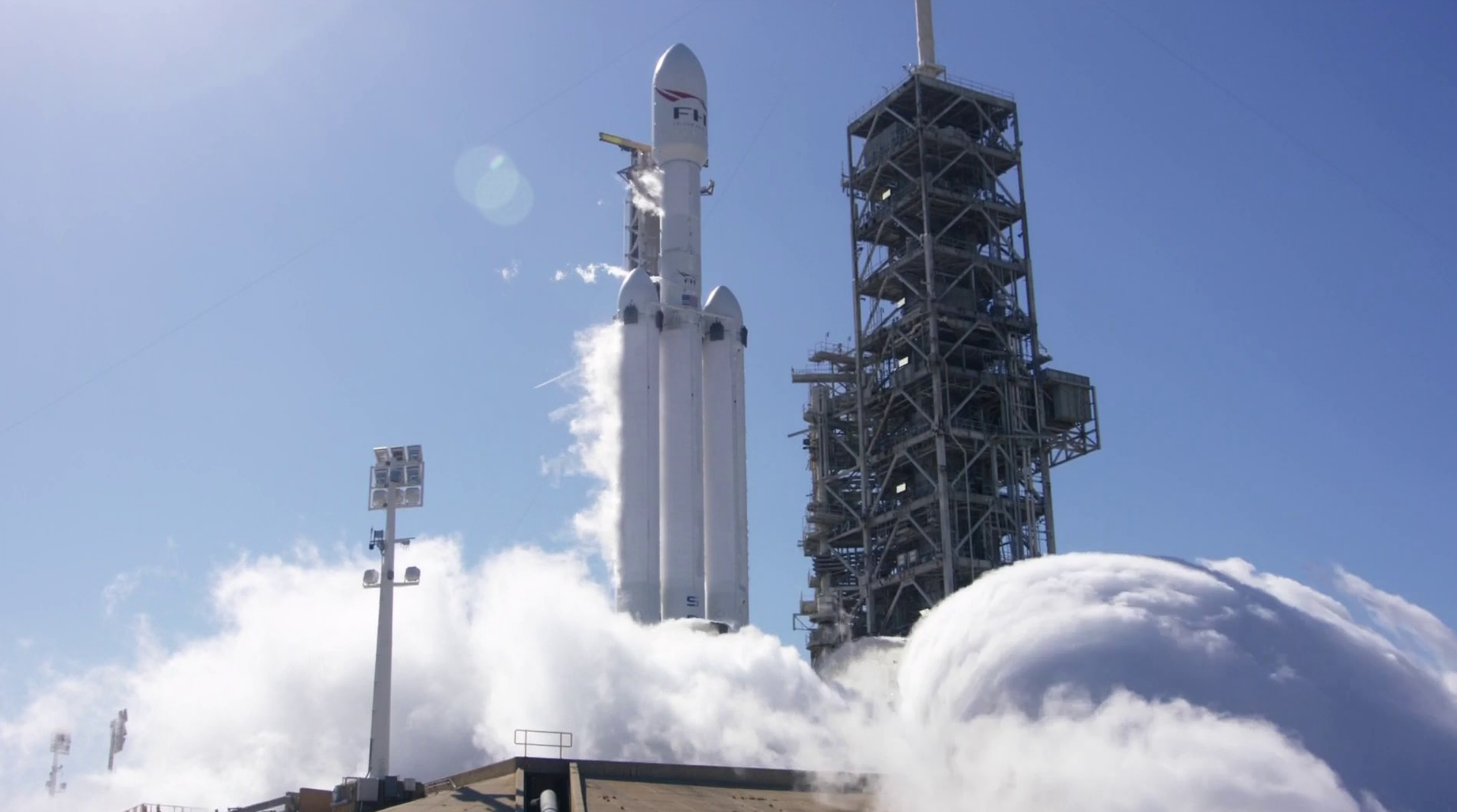 The Falcon Heavy stood tall during its tethered test-fire last week.