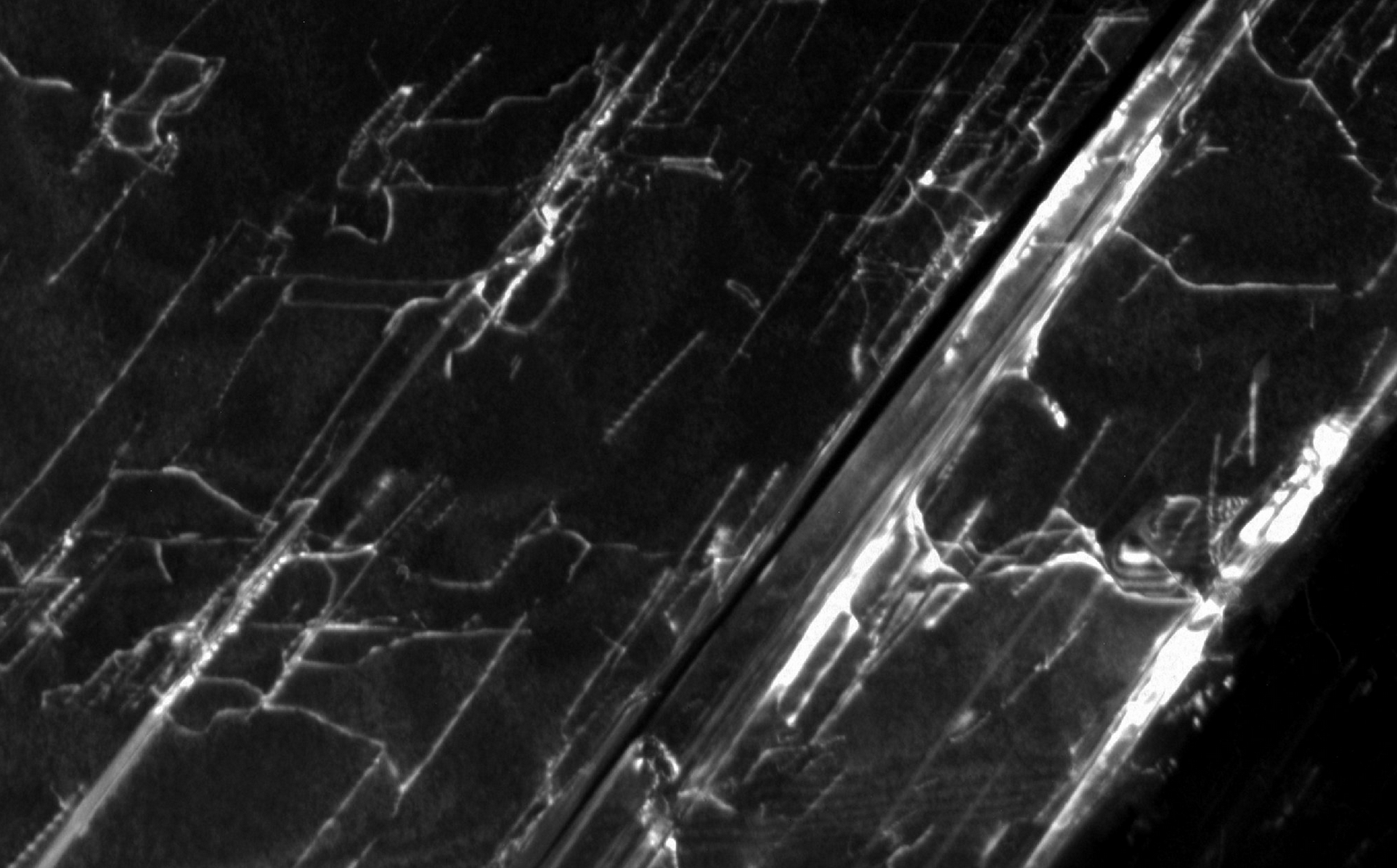 A close-up of the diamond crystal imaged with transmission electron microscopy.