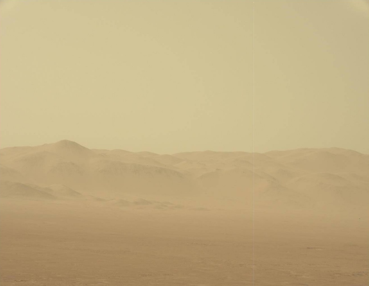 A view of the Martian dust storm from the Curiosity rover's mast camera.