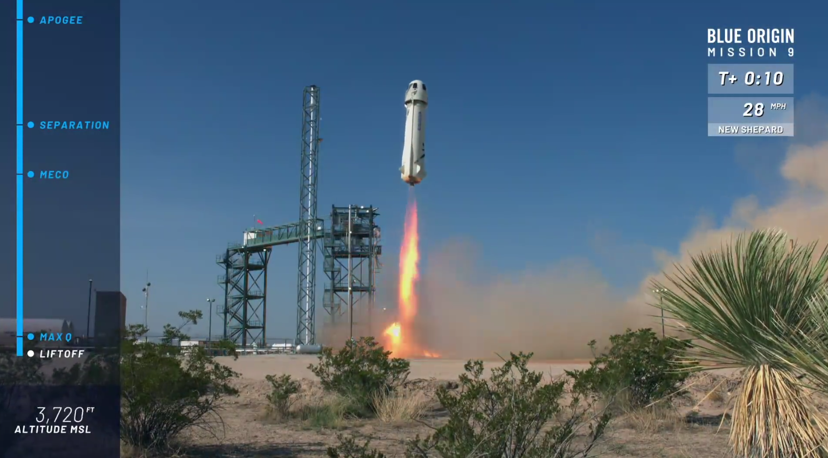 Blue Origin's New Shepard rocket blasts off from the launch pad on Wednesday.