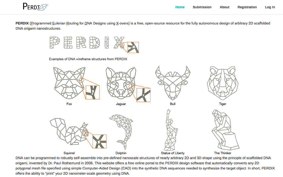 A screenshot of the PERDIX site