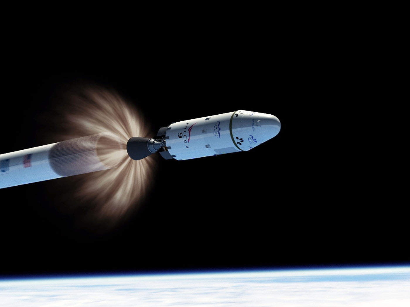 An artist's depiction of the SpaceX Falcon 9's second stage separating from the first stage in space.