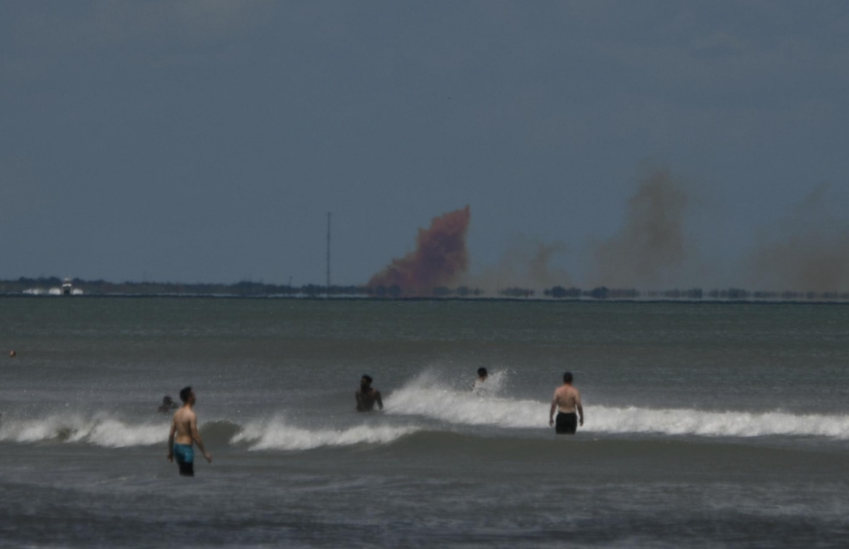 An image of the smoke following the Crew Dragon capsule disaster from two weeks ago.