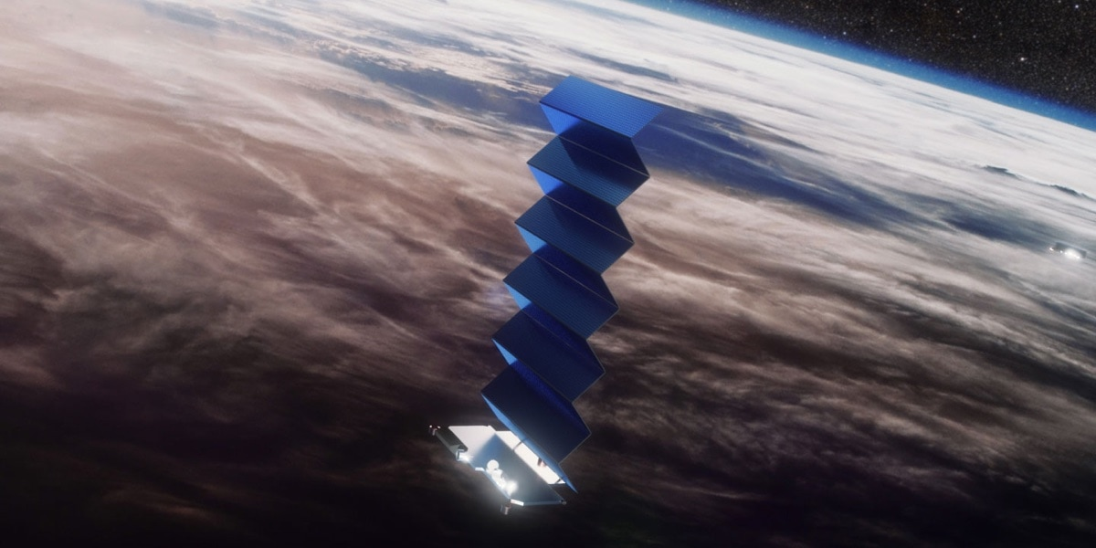 An artist's rendition of a SpaceX Starlink satellite raising its solar panels.