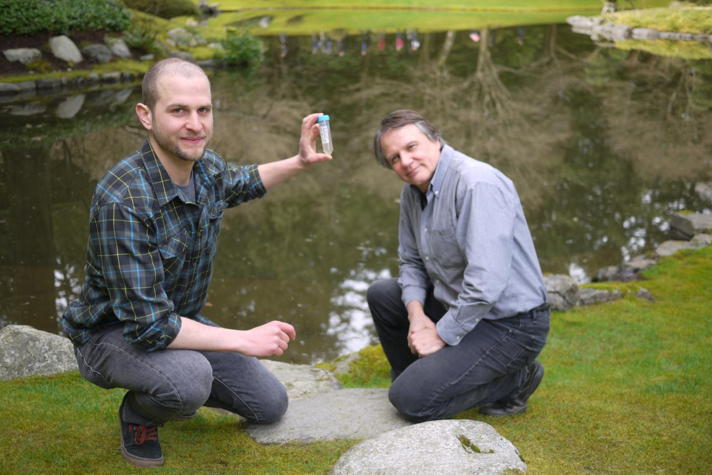 Christoph Deeg and Curtis Suttle isolated Bodo saltans virus in samples from UBC's Nitobe Memorial Garden. / Credit: University of British Columbia