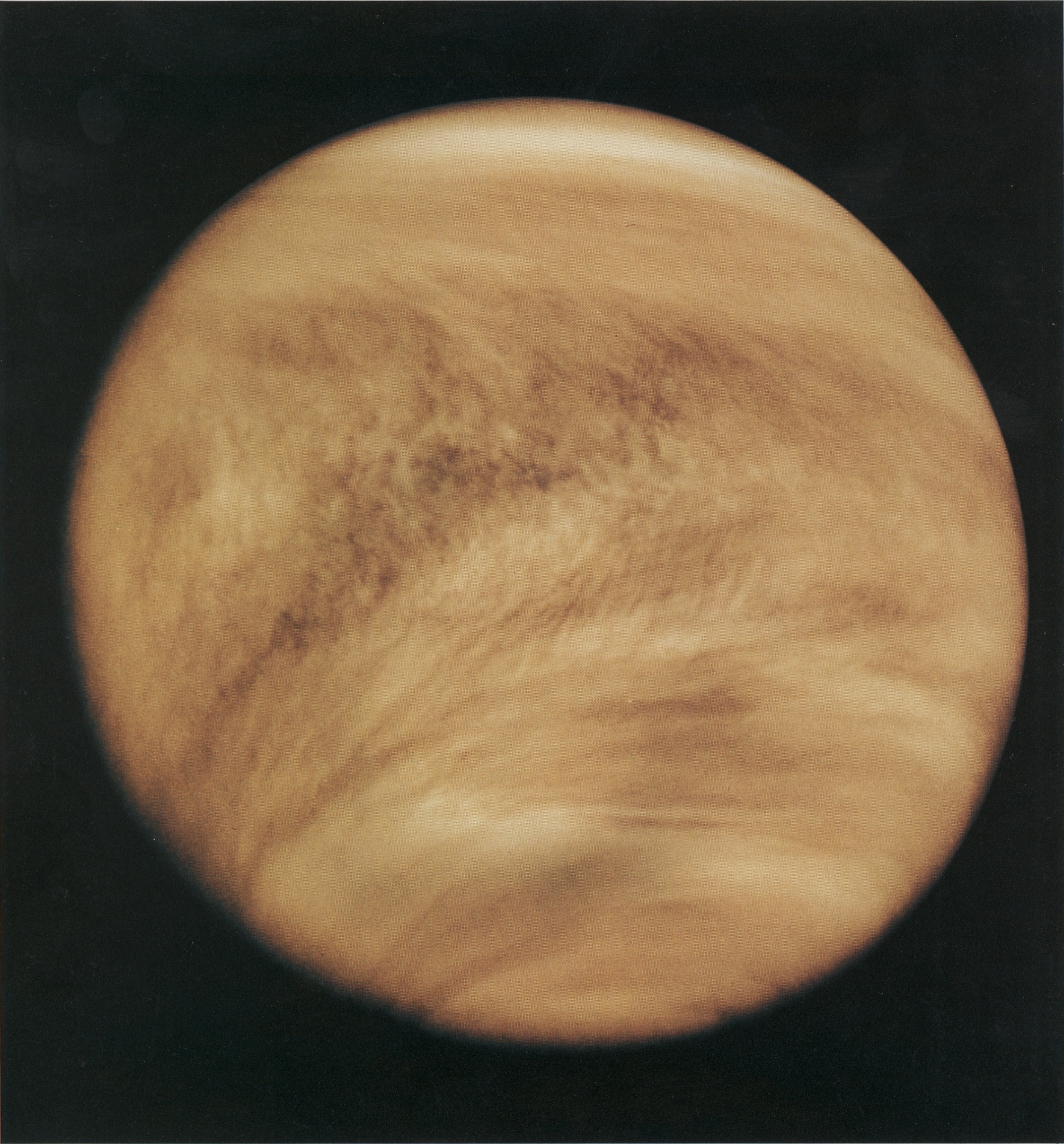 Venus as photographed by the Pioneer spacecraft.