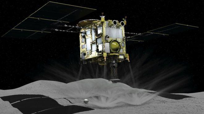 An artist's impression of the Hayabusa-2 spacecraft landing on 162173 Ryugu.