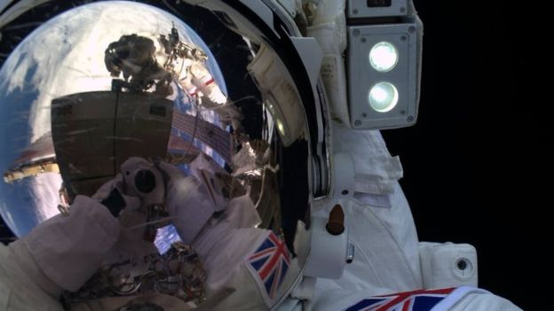 Tim Peake takes a selfie in the midst of his spacewalk.