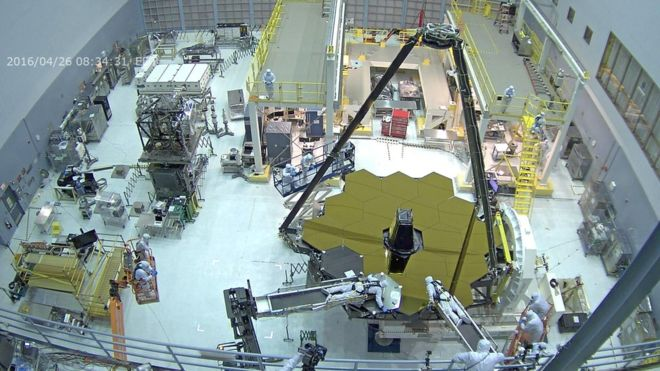 The entire bare primary mirror of the JWST has been revealed for the first time.