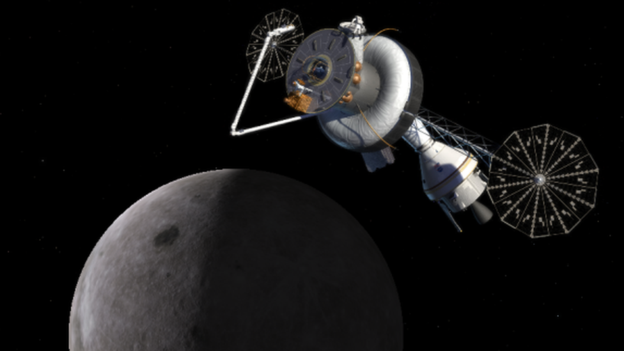 An artist's impression of a space base between Earth and the Moon.
