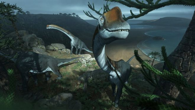 An artist's impression of the new dinosaur species that was discovered by investigating a several-decade-old fossil kept in a museum's storage crates.
