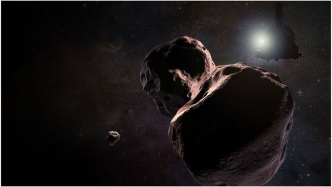 An artist's impression of the KBO 2014 MU69 and its potential moon.
