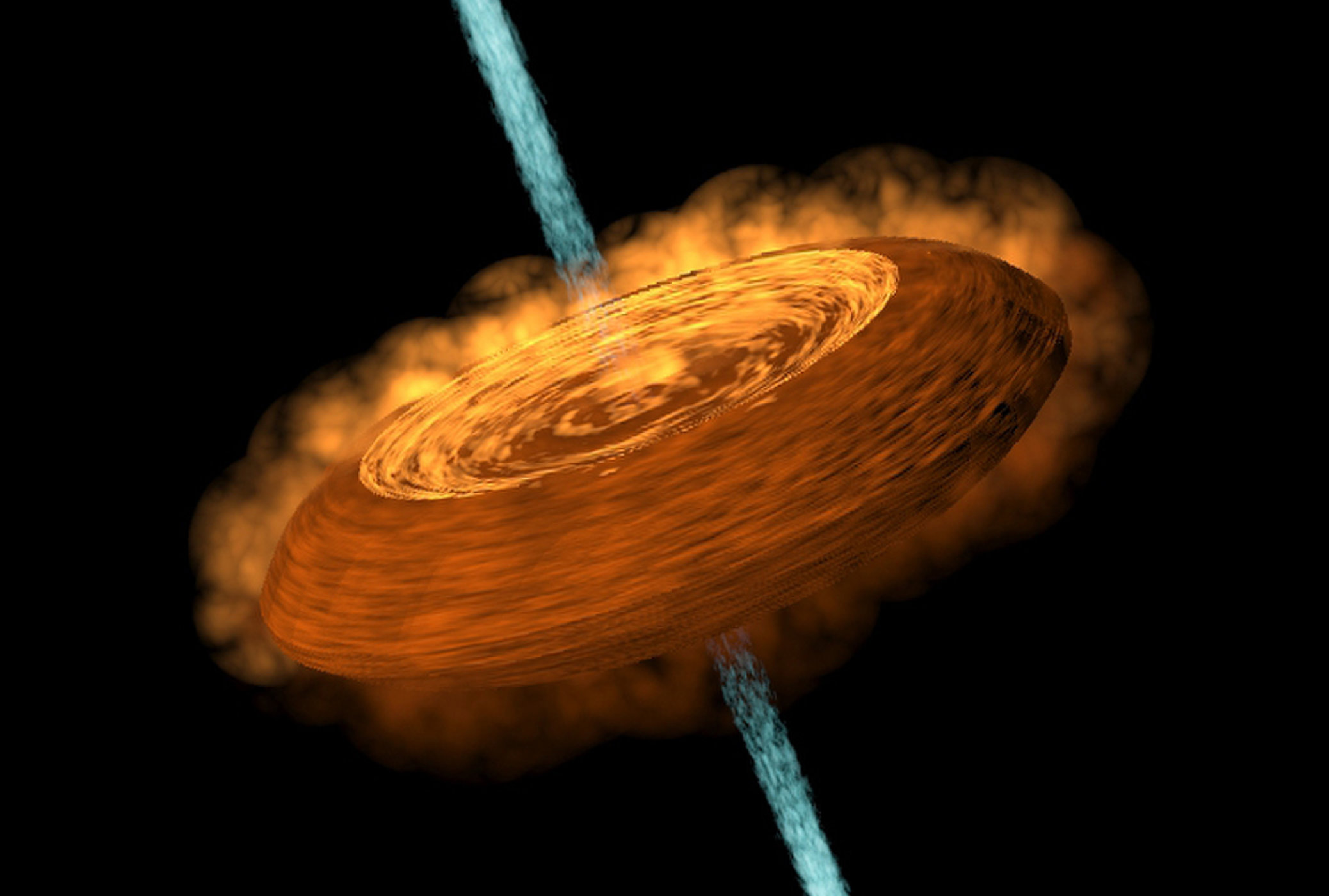 An artist's illustration of the HH212 protostellar disk, which looks a lot like a hamburger.