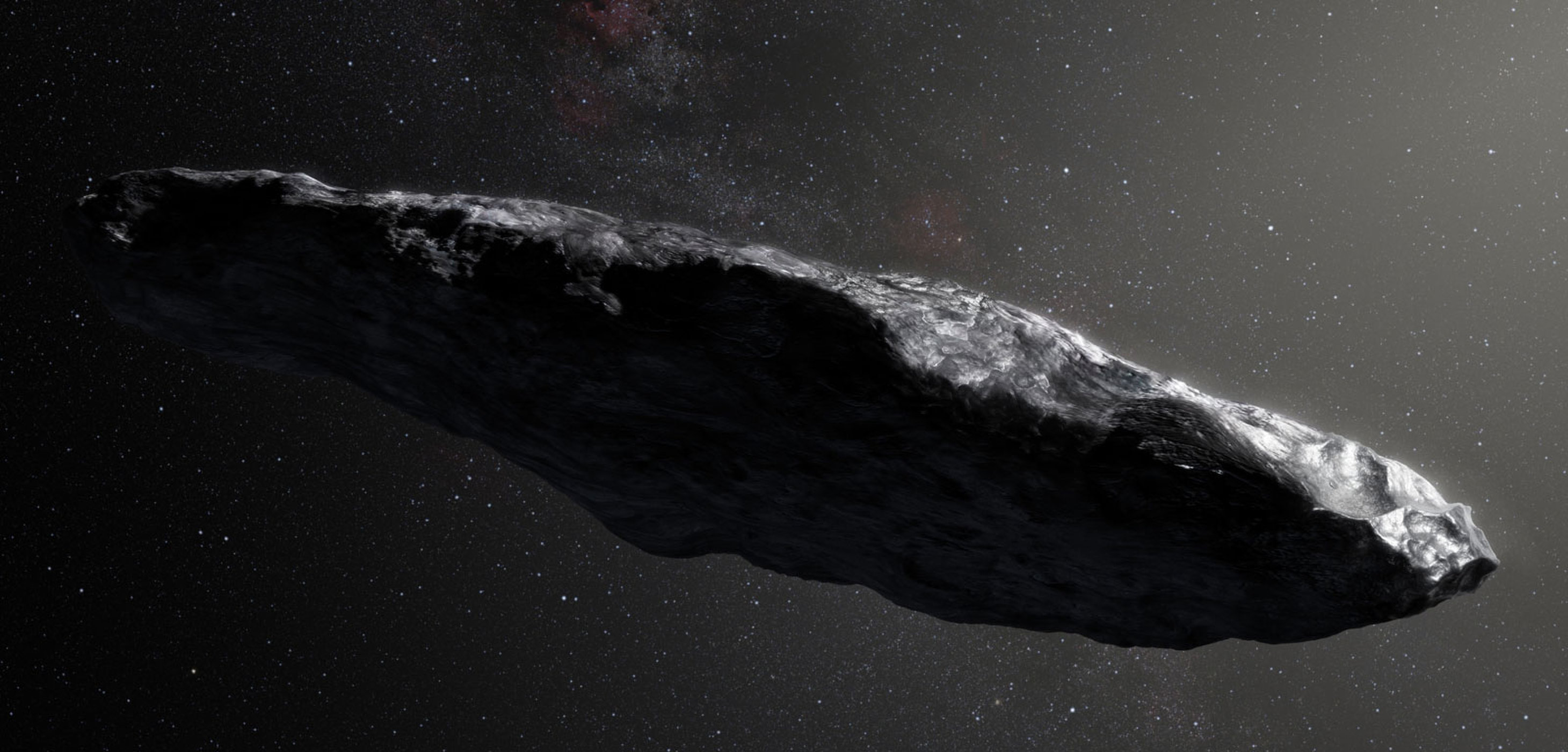An artist's impression of Oumuamua, the interstellar space rock that took a shortcut through the solar system two months ago.