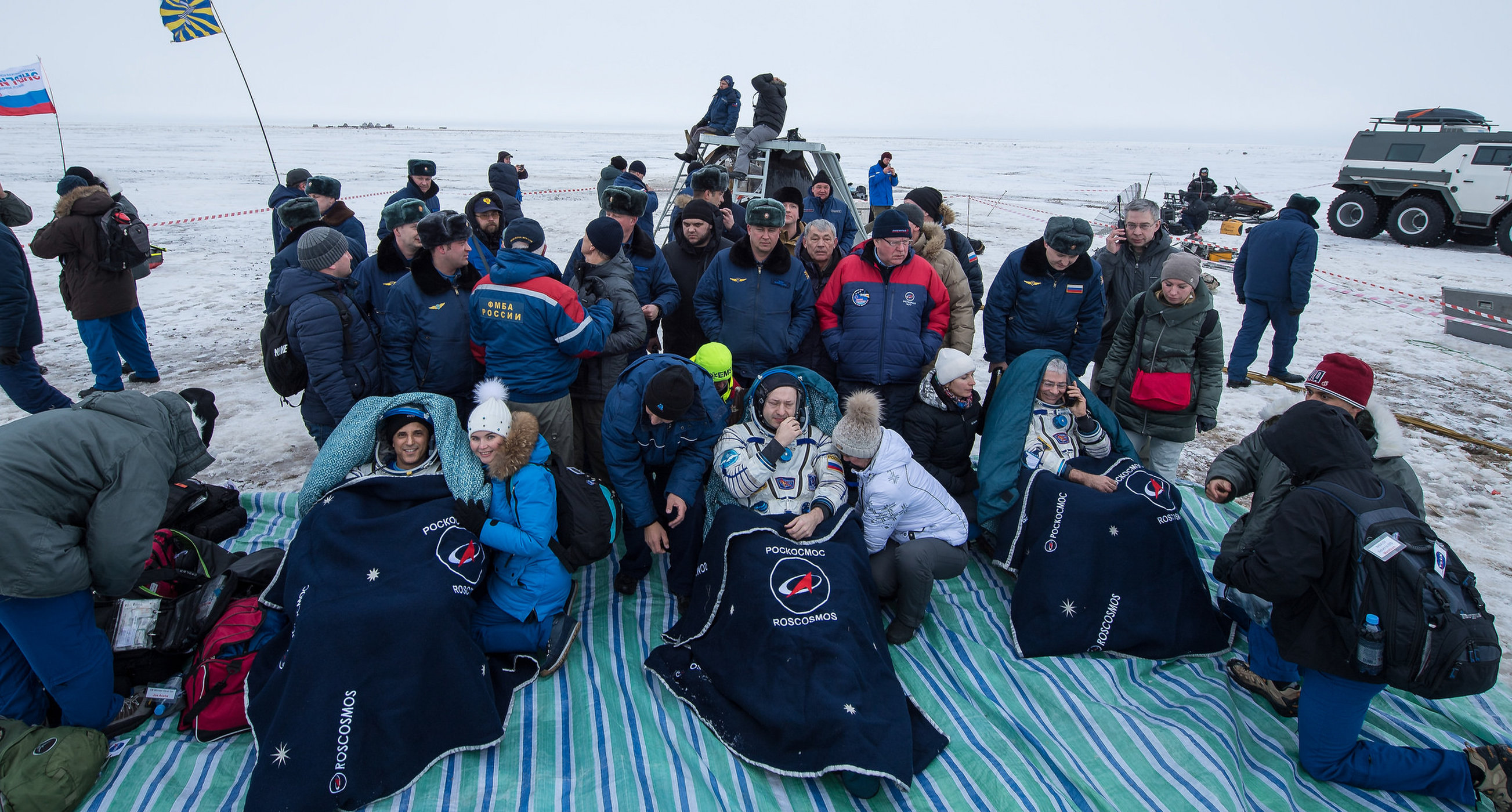 Three International Space Station astronauts landed on Earth after 168 days in space.