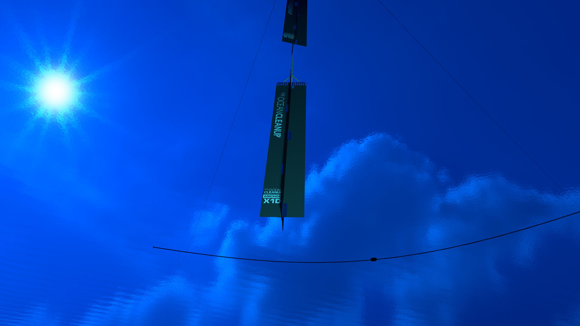 computer rendering of new system with anchor, underwater view, credit: Erwin Zwart, The Ocean Cleanup