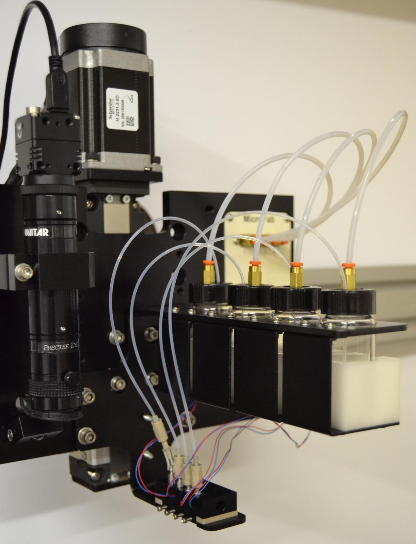 This photograph shows inkjet bioprinting for heterocellular tissue models. / Credit: Ozbolat Lab at Penn State