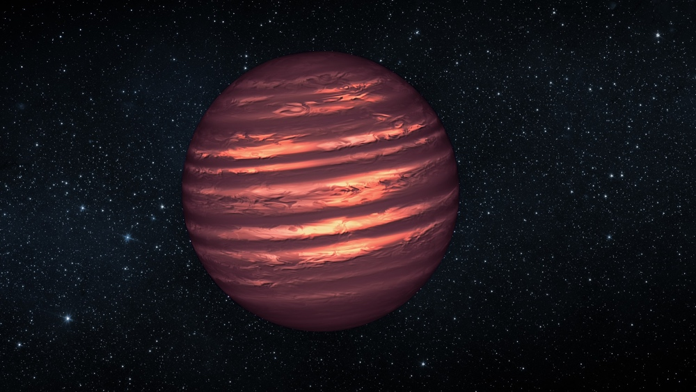 An artist's impression of a brown dwarf.