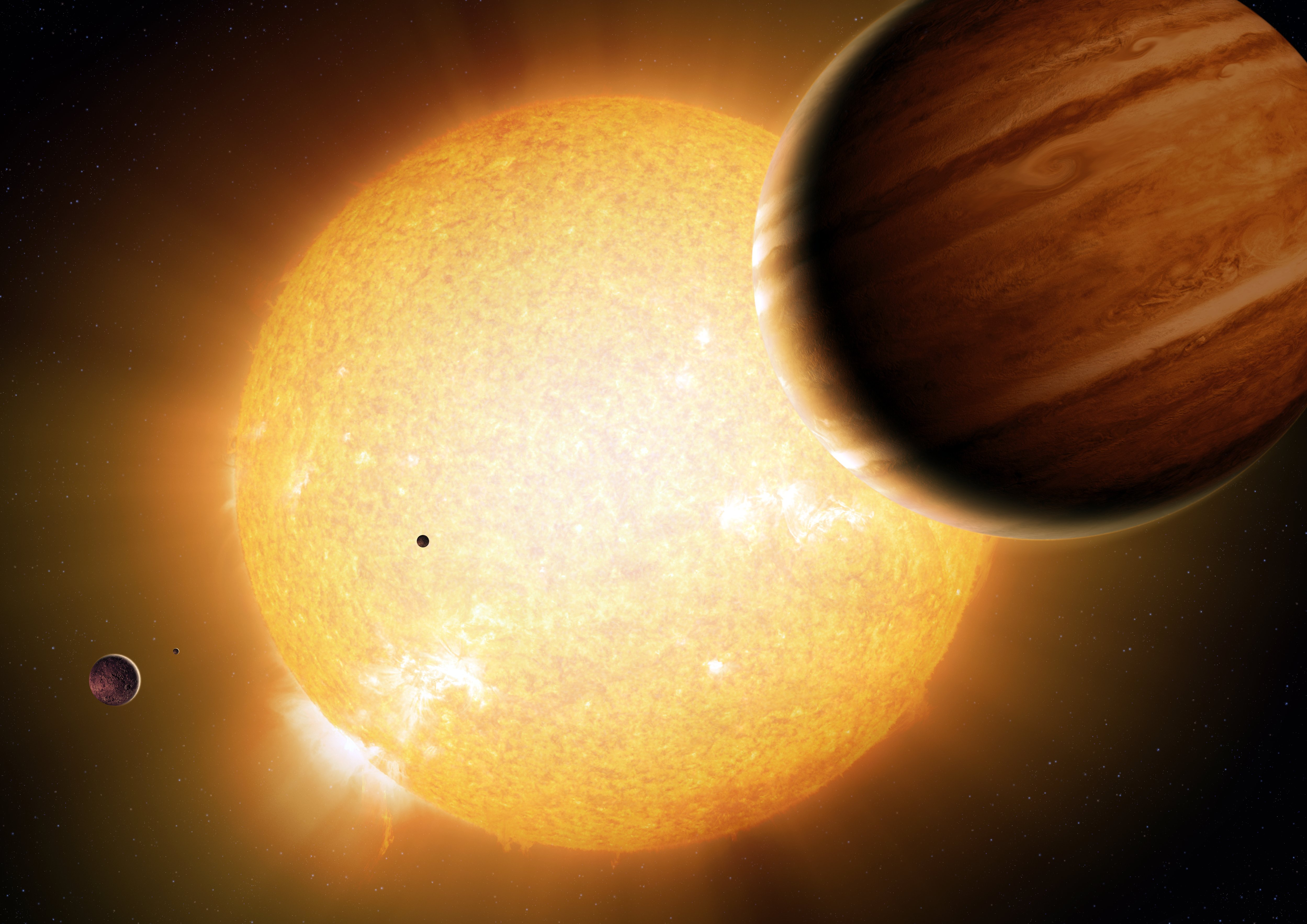 An artist's impression of a warm Jupiter orbiting its host star with companion planets.