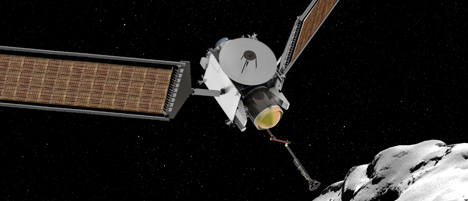 An artist's impression of the CESAR spacecraft probing comet 67P.