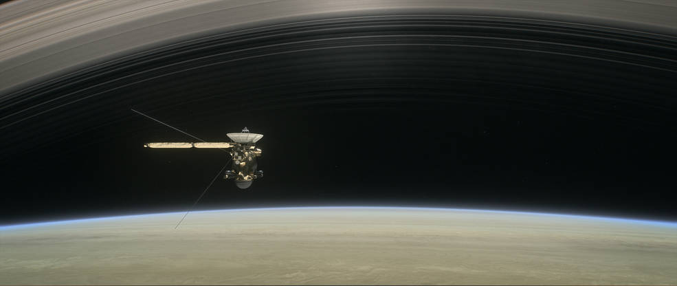 An artist's rendition of Cassini, as it flies in between Saturn and its rings.