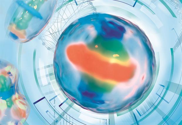 Artistic rendering of a computer model of a dividing human cell. / Credit: Aleksandra Krolik / EMBL