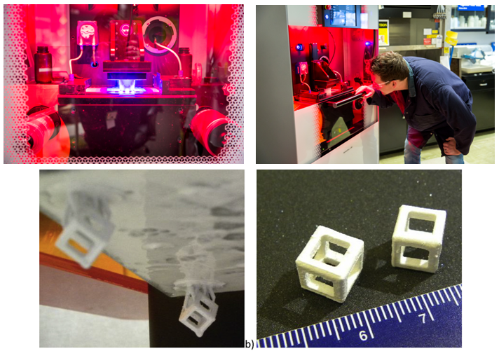 Upper: Fuel Development scientist Dr. Andrew Bergeron working on a stereolithography-based 3D-printer; Lower: the printed parts (Image Credit: CNL)