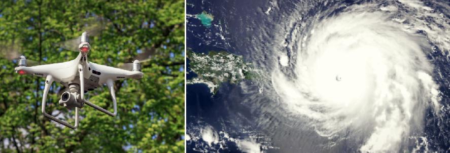 drone and Hurricane Irma, credit: public domain images (Wikimedia)