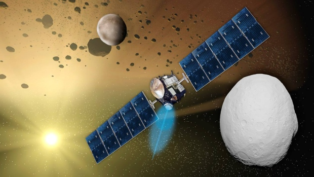 An artist's impression of the Dawn spacecraft.