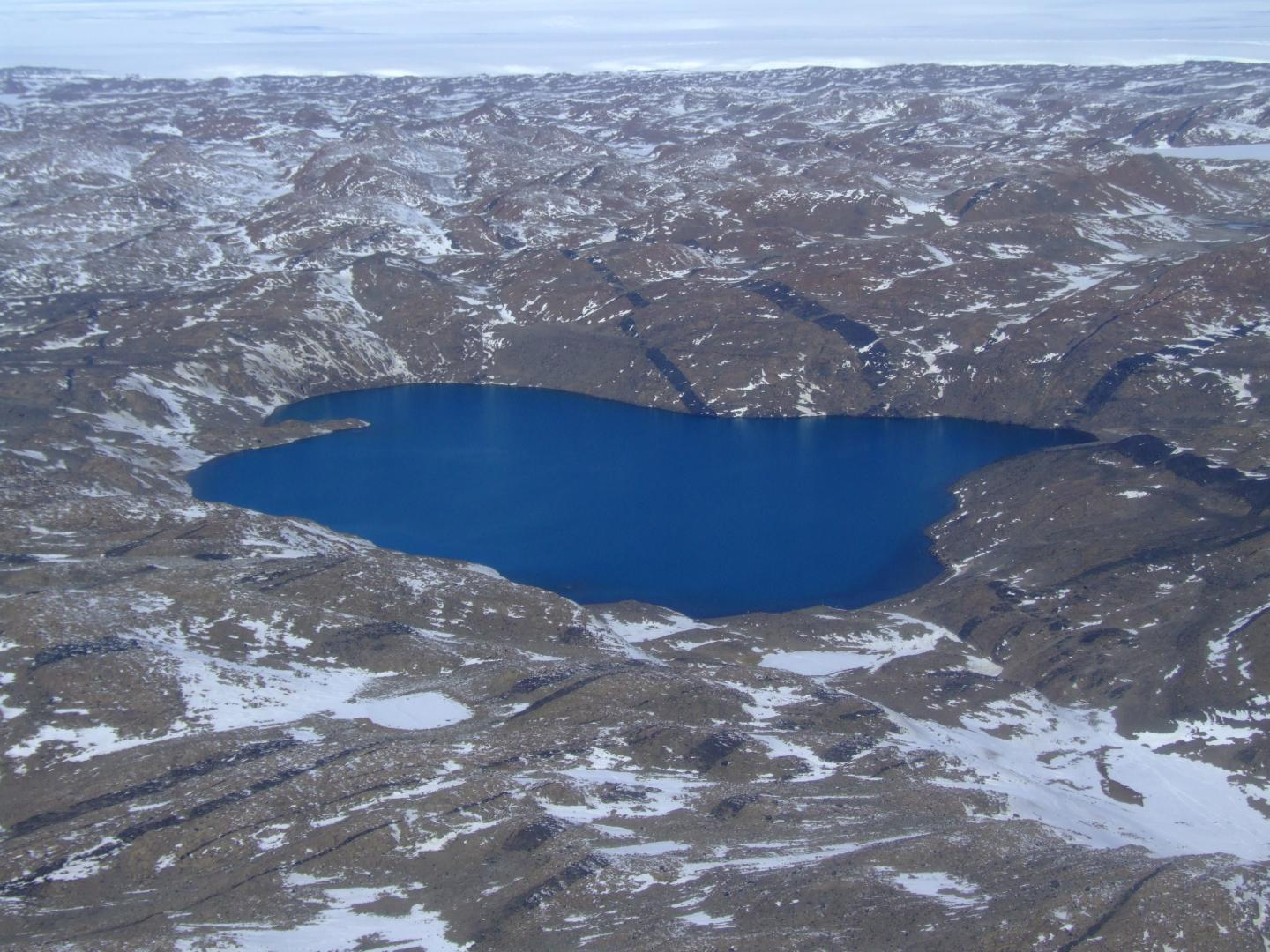 Deep Lake in the Vestfold Hills region of Antarctica. The 36-metre deep lake is so salty it remains in liquid form down to a temperature of minus 20 degrees. / Credit: UNSW Sydney