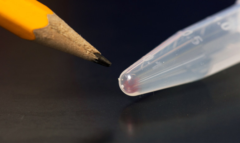 All the movies, images, emails, and other digital data from more than 600 basic smartphones (10,000 gigabytes) can be stored in the faint pink smear of DNA at the end of this test tube.