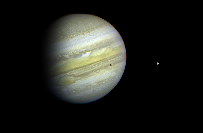 An image of Jupiter captured by NASA's Voyager 1 spacecraft in 1979.