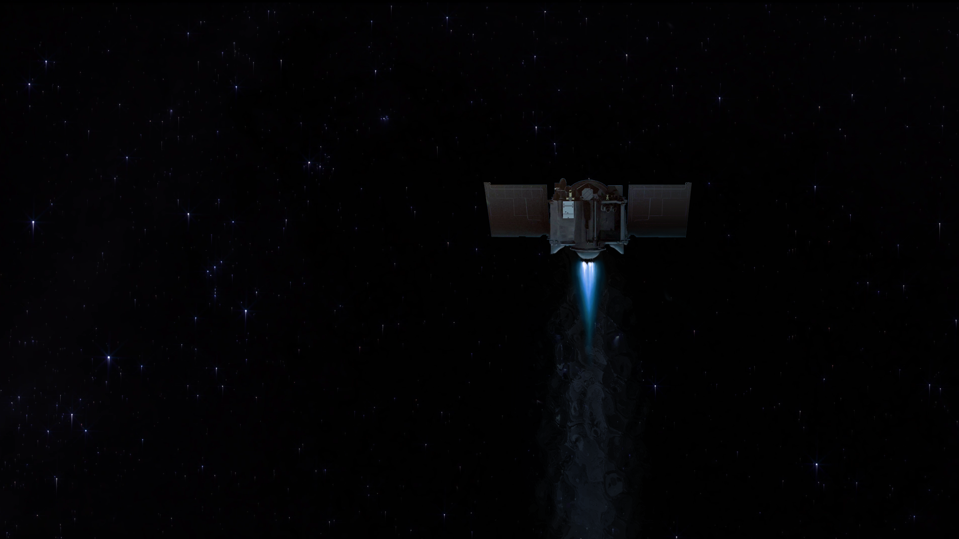 An artist's impression of the OSIRIS-REx spacecraft performing a Deep Space Maneuver.