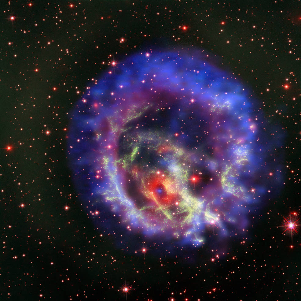 A composite image showing 1E 0102.2-7219 in all its glory.