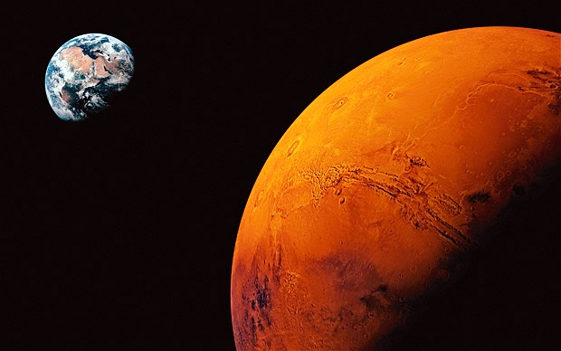 An artist's rendition of Earth as seen from Mars.