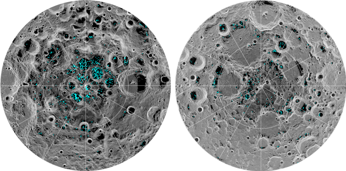 These diagrams show where water ice exists on the lunar surface.