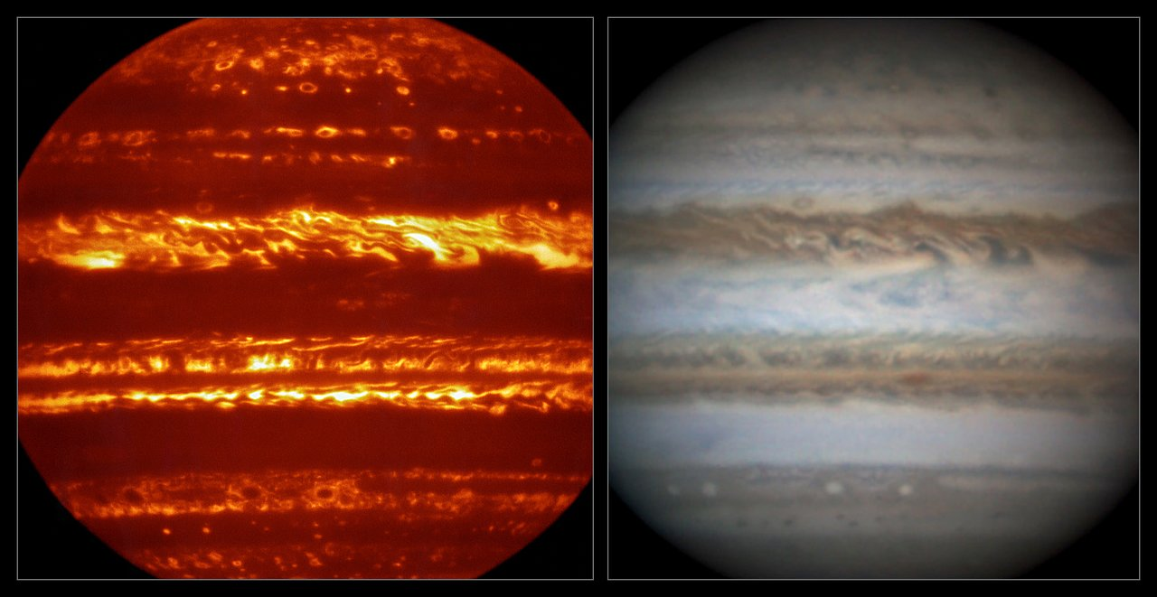 Infrared on the left, and normal on the right. You can see Jupiter's violent clouds as they swirl around the planet.