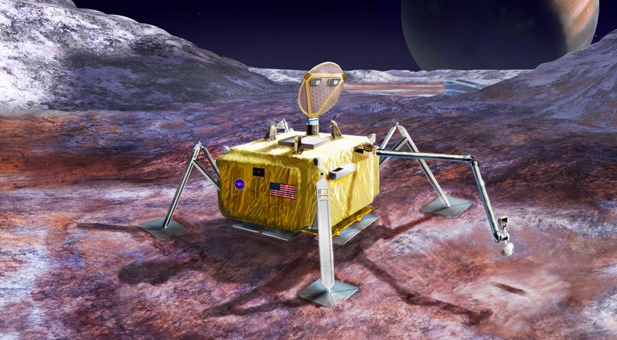 An artist's rendition of the what the 2020's Europa lander might look like.