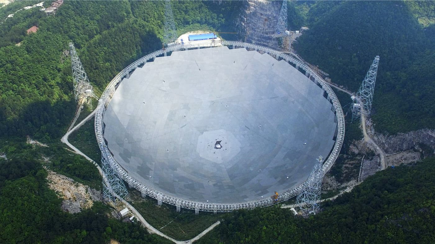 The completed FAST radio telescope now stands in China as the world's largest.