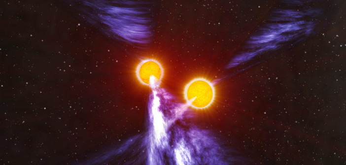 An artist's impression of a double neutron star system.