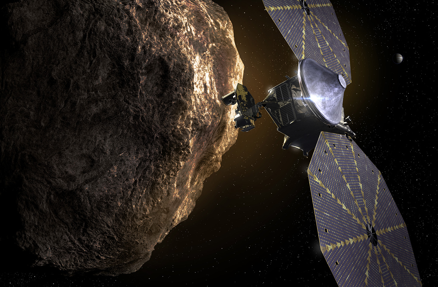 An artist's rendition of the Lucy spacecraft visiting a distant asteroid.