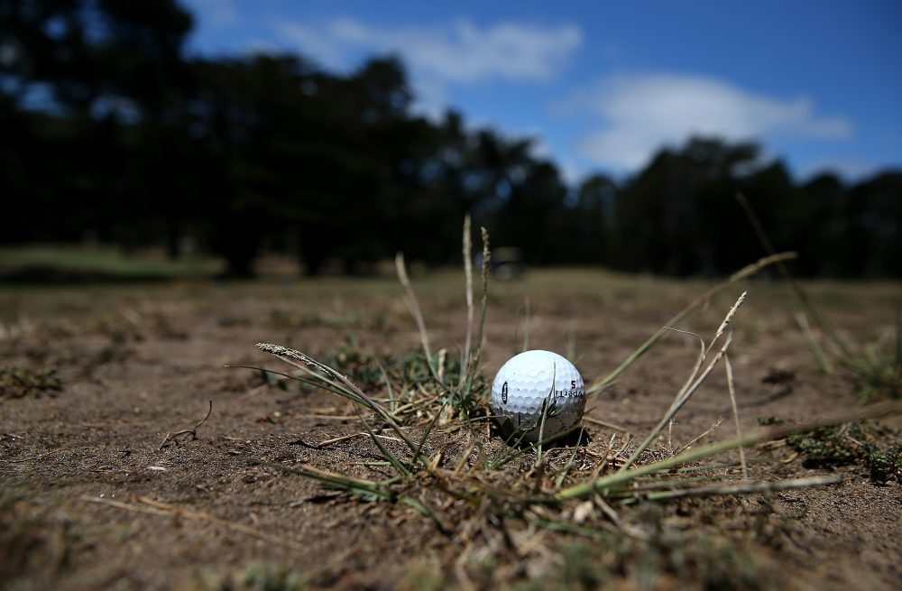A golf ball sits in a dry spot on a fairway at Gleneagles Golf Course on July 11, 2014 in San Francisco, California. (Justin Sullivan/Getty Images)