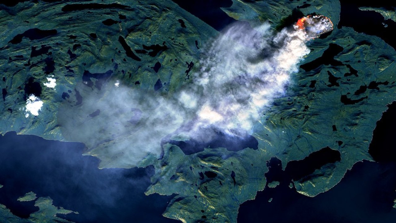 This satellite image shows the wildfire. Credit: European Space Agency