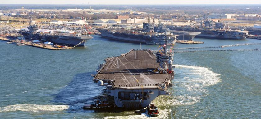 Naval Station Norfolk is projected to face 4.5 feet to nearly 7 feet of sea level rise this century.  Photo: UCSUSA