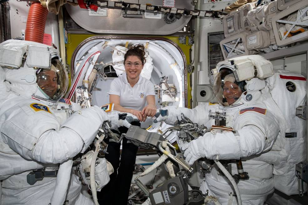 The NASA astronauts test the fit of their space suits ahead of the most recent spacewalk.
