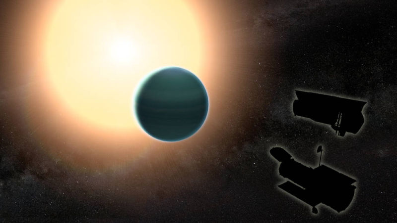 An artist's impression of HAT-P-26b while it transits its host star - both the Hubble Space Telescope and Spitzer Space Telescope appear as silhouettes in the bottom right corner.